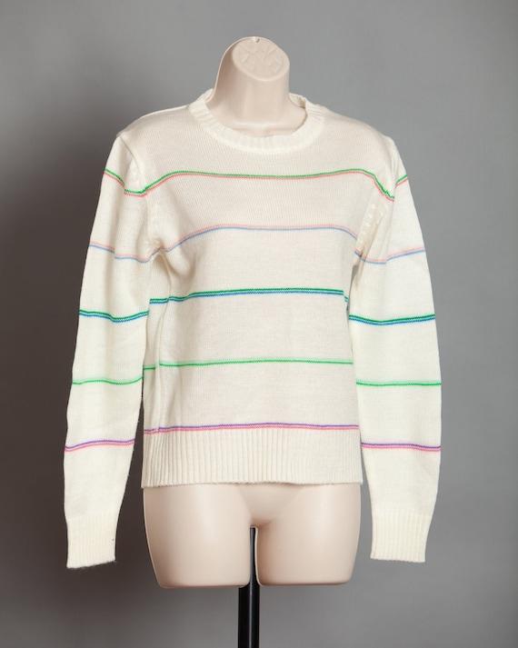 Womens 70s 80s Light Striped Sweater