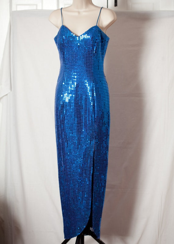 Vintage 80s 90s Blue Sequins Dress - ROBERTA