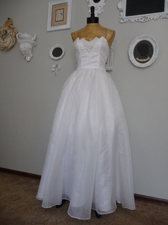 Vintage 1960s Candy Jones White Sparkle Ball Gown