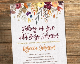 Fall Baby Shower Invitation, Autumn Baby Shower, Watercolor, Floral, Fall Flowers, Baby Girl, Baby Shower Invitations (PRINTABLE FILE)