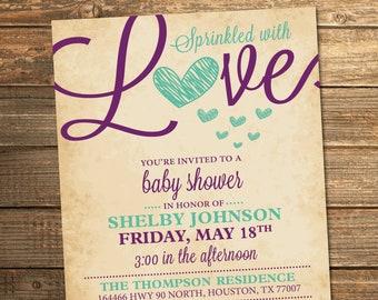 Baby Sprinkle, Sprinkled with Love, Baby Shower Invitation, Mint Green, Purple, Girl, Heart, Girl Baby Sprinkle, PRINTABLE INVITATION