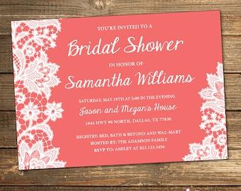 Coral Bridal Shower, Wedding Shower Invitation, Lace, Coral, White, Coral Wedding, Shower Invite, Lacey, White Lace, Printable Invitation