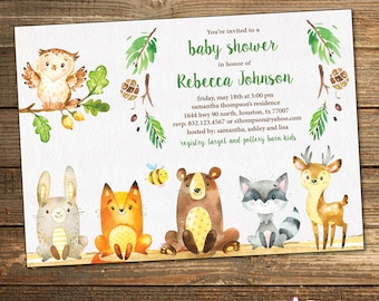 Woodland Baby Shower Invitation / Forest Friends / Gender Neutral / Woodland Animals / Digital or PRINTED INVITATION