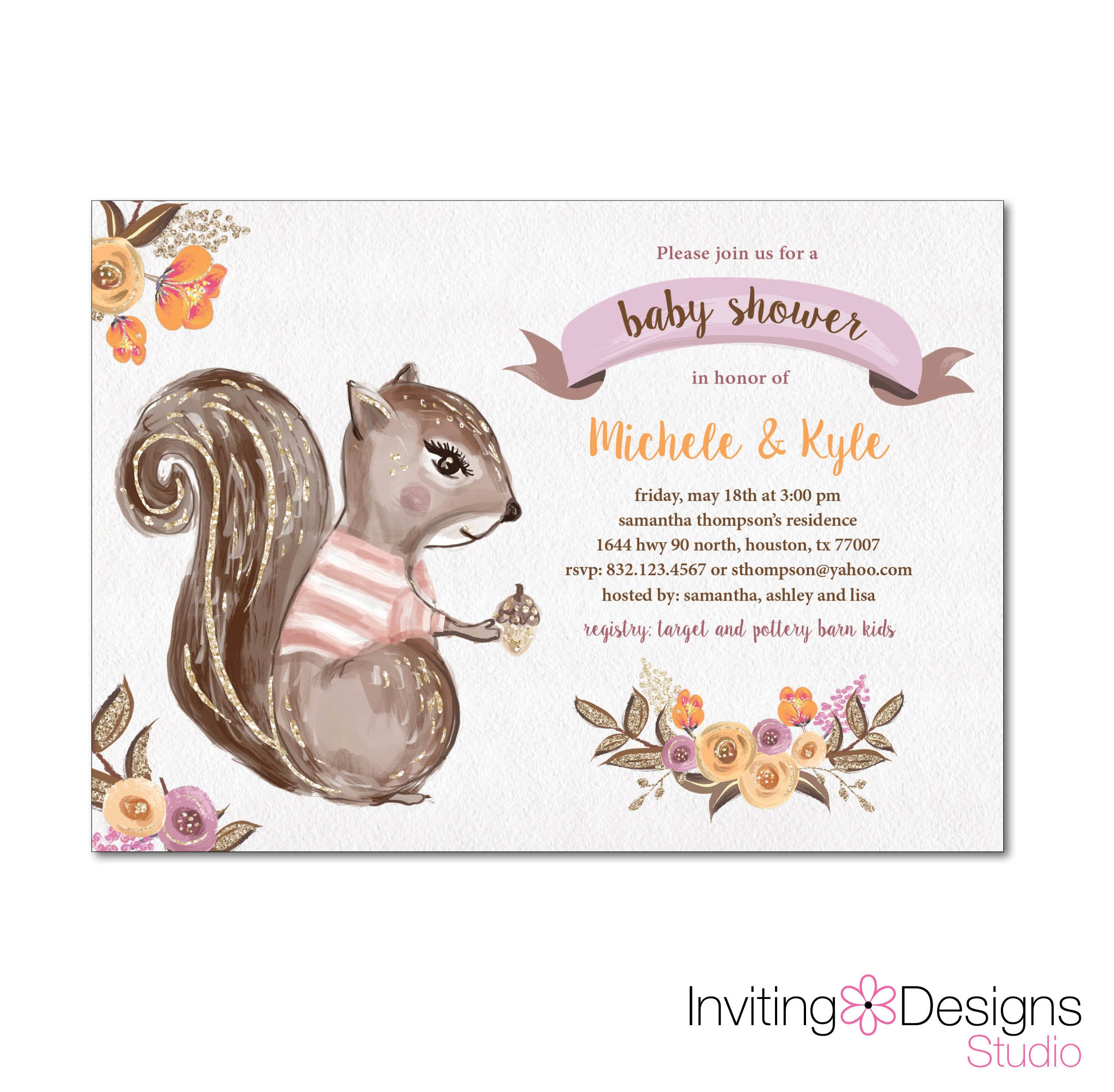 image about Printable Squirrel Target called Woodland Kid Shower Invitation / Squirrel Boy or girl Shower / Slide Boy or girl Shower / Impartial Youngster Shower / Little one Lady / PRINTABLE History IDS1051