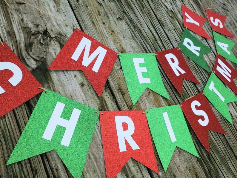 Red Green Traditional Christmas Christmas Party Decoration Christmas Banner Red and Green Glitter READY TO SHIP Merry Christmas Banner