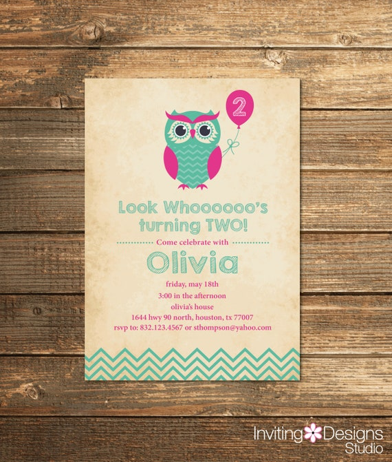 Owl Birthday Invitation Second First Party