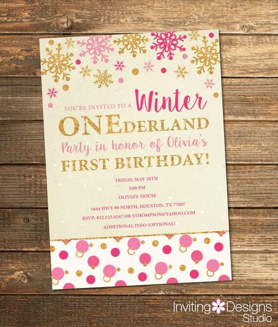 Winter Birthday Invitation Onederland Birthday Invitation Etsy