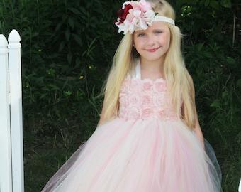 96f1410947f0 Dusty Rose Flower Girl Dress Blush Tulle Dress Tutu Dress Boho Rustic