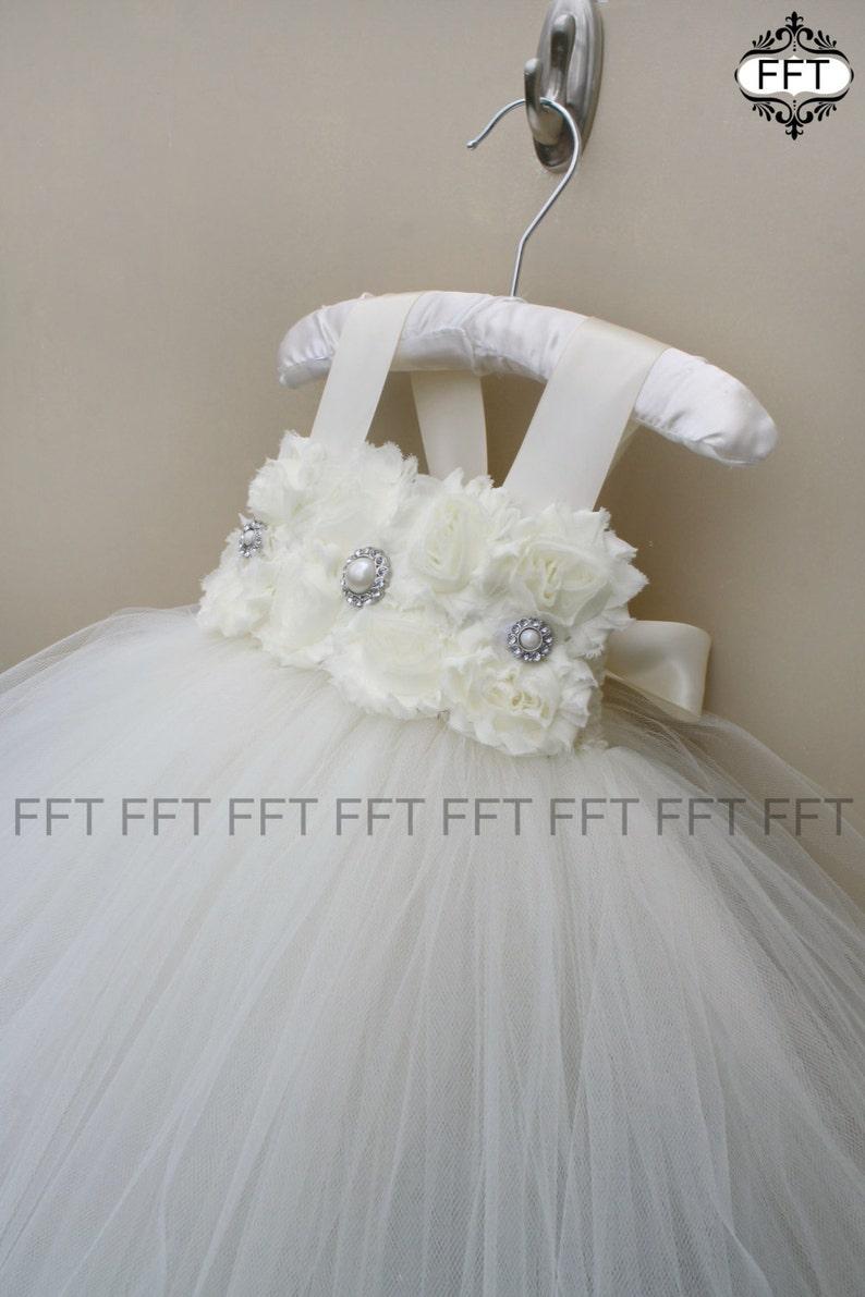 Flower Girl Dress Ivory Tutu Baptism image 0