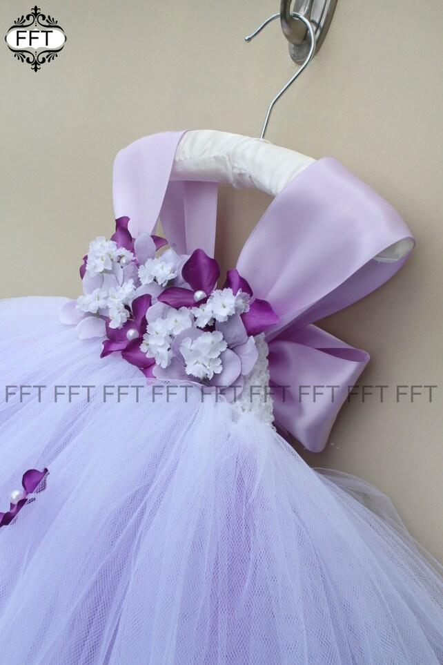 Purple Flower Girl Tulle Dress Purple Tutu Dress Cap Sleeves