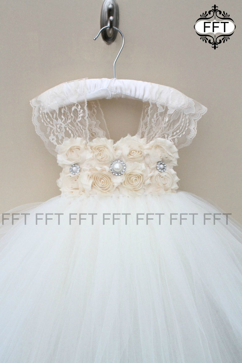 Flower Girl Dress Champagne Lace Ivory Tulle image 0