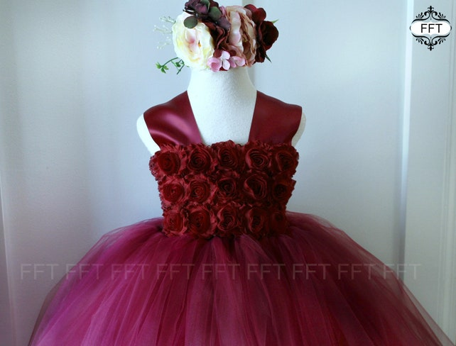 Burgundy Wine Flower Girl Tulle Dress Tutu Dress