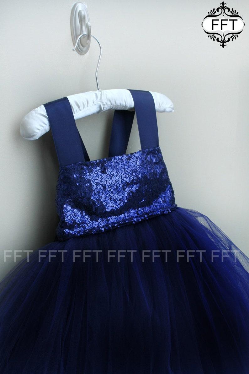 Navy Flower Girl Tulle Dress image 0