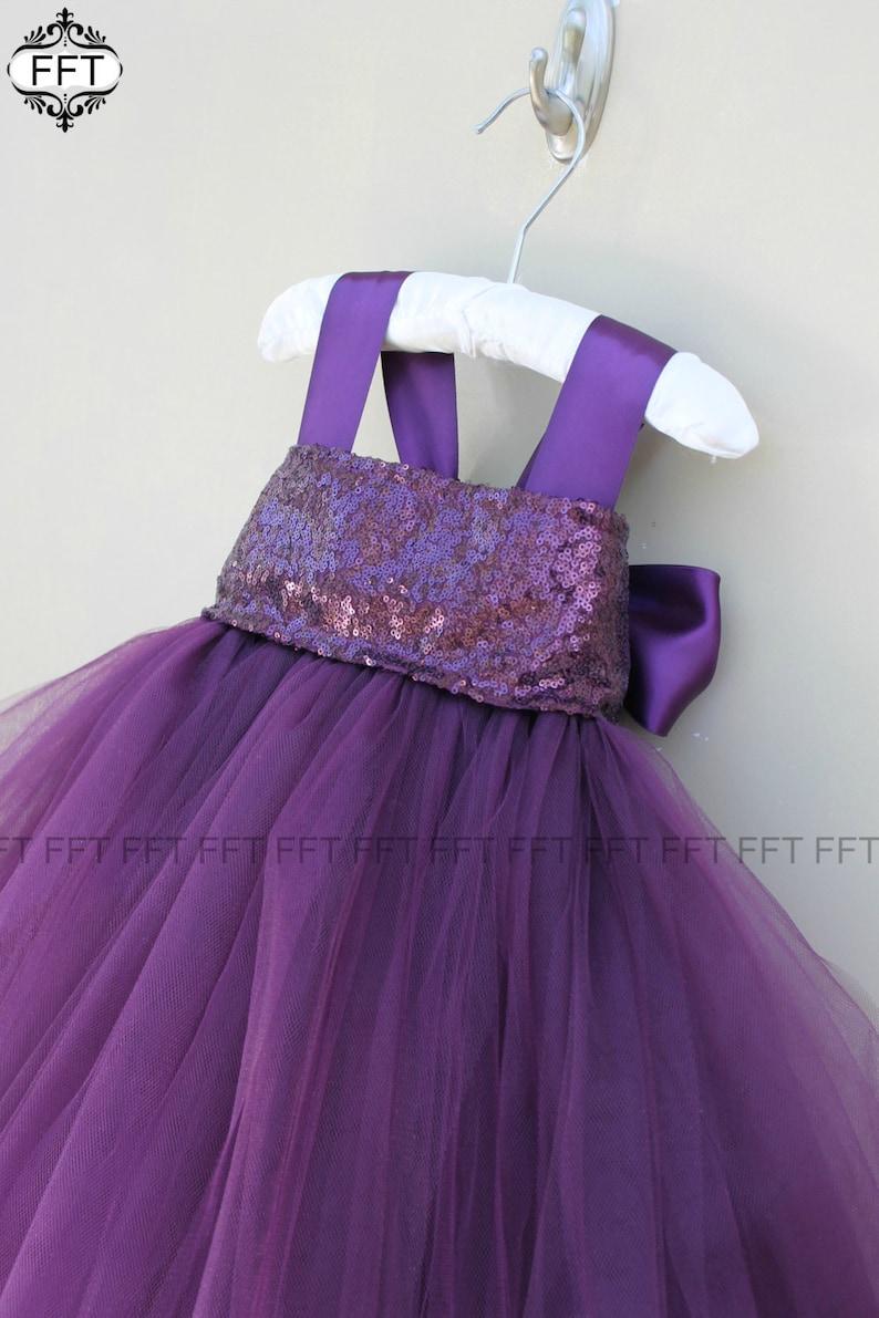 Plum Eggplant Sequin Flower Girl Tulle Dress Tutu Dress image 0