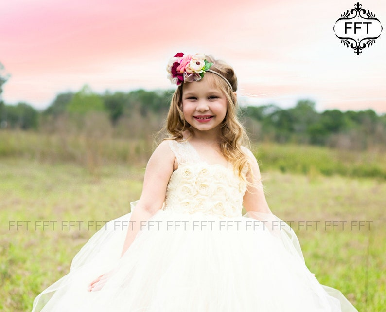 Flower Girl Dress Ivory Champagne Boho Rustic Country image 0