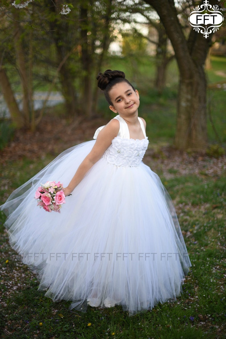 Flower Girl Dress Ivory White image 0