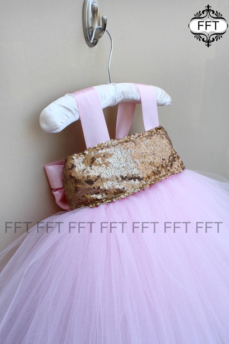 Pink Gold Tutu Dress Birthday Flower Girl image 0