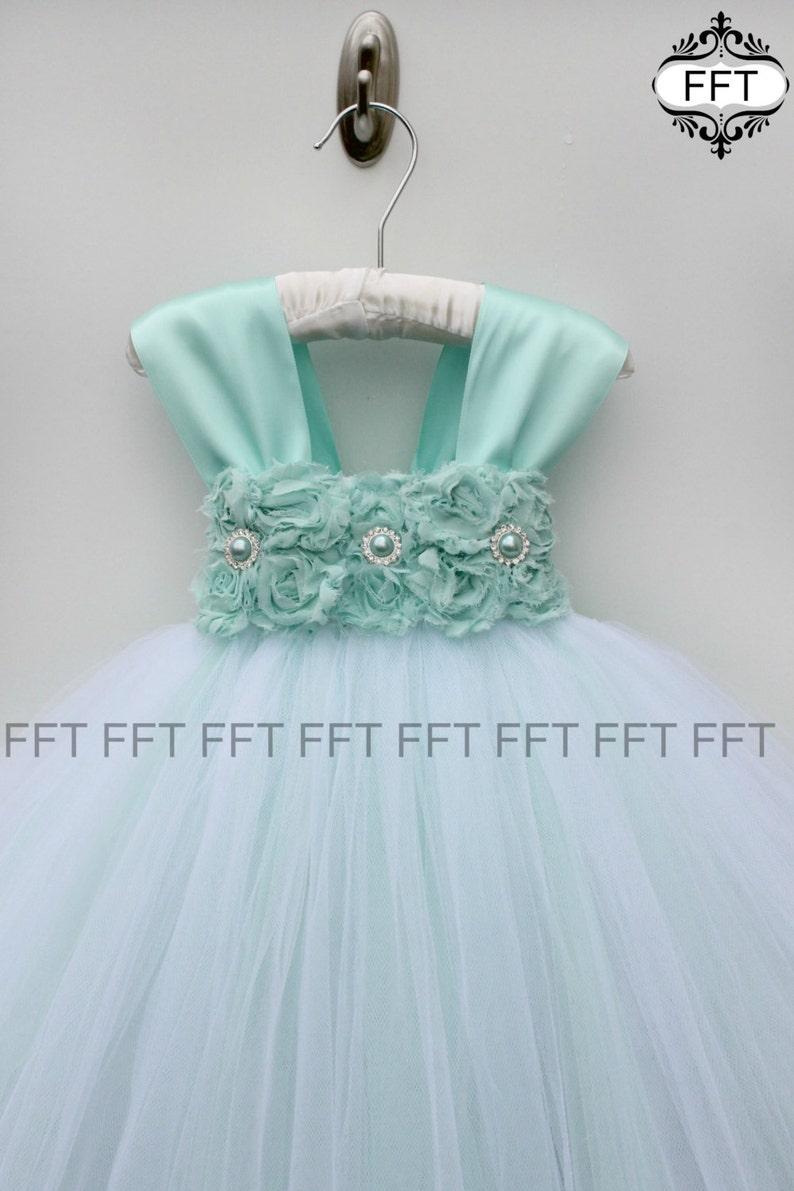 Aqua Flower Girl Dress image 0