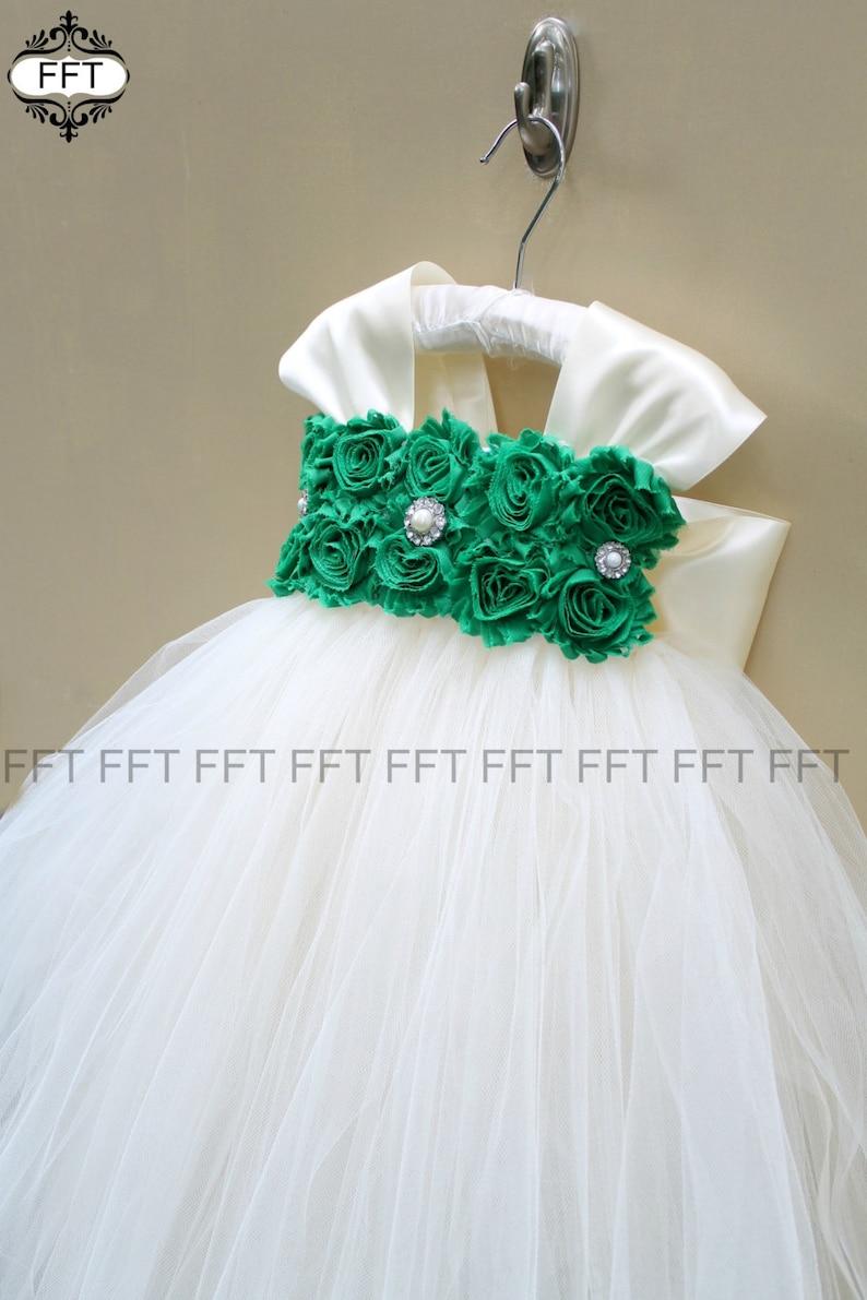 Emerald Kelly Green Ivory Or White Flower Girl Tulle Dress image 0