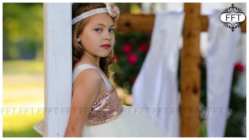 Rose Gold Flower Girl Dress image 0
