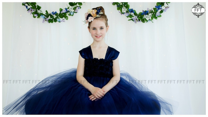 Navy Flower Girl Dress image 0