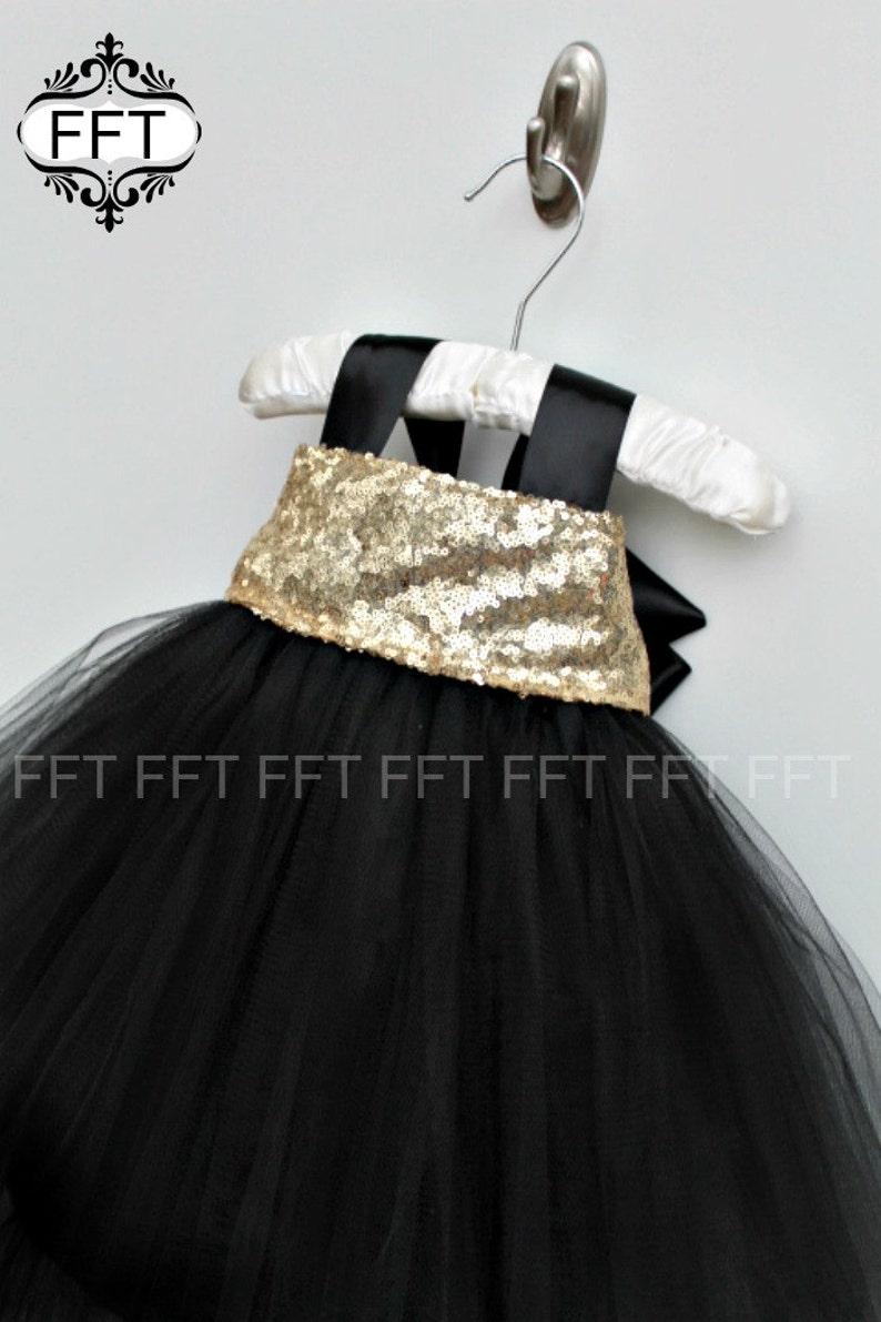 Black Gold Flower Girl Tulle Tutu Dress image 0