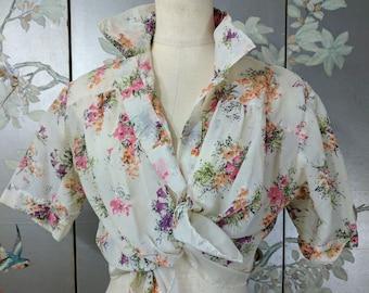 1950s nylon pink pastel floral top shirt blouse