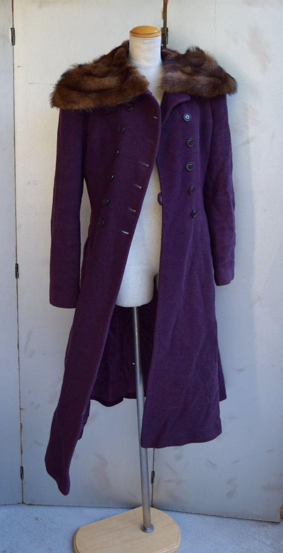 Vintage MED - LG 1930s - 1940s British purple tex… - image 1