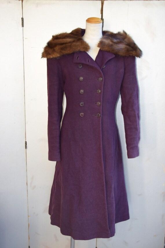 Vintage MED - LG 1930s - 1940s British purple tex… - image 2