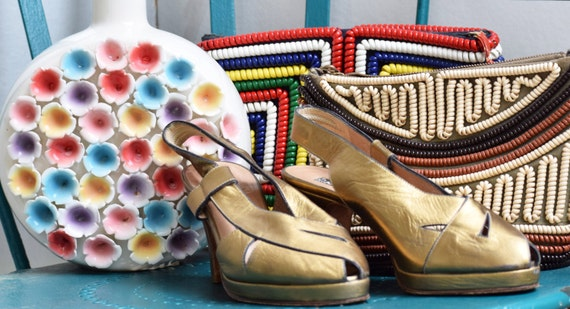 1940s style gold platforms from the 1980s