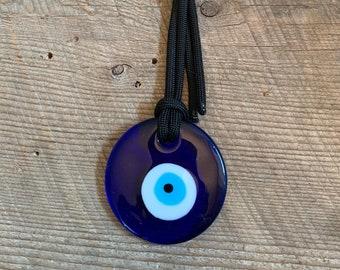 Hanging Blue Evil Eye Pendant Hemp or Paracord Glass Evil Eye Traditional Nazar Boncuk Evil Eye Decor Talisman Housewarming or Hostess Gift