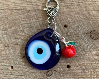 Blue Teardrop Evil Eye with Red Apple Charm Keychain handmade glass pendant keychain New Driver Gift Foodie Gift