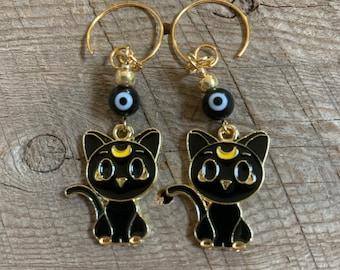 Luna Cat and Black Evil Eye Earrings