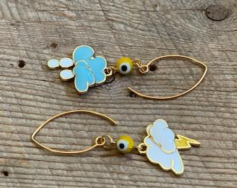 Mazin Earrings - Yellow Evil Eye Storm & Rain Cloud Earrings on Gold Hooks