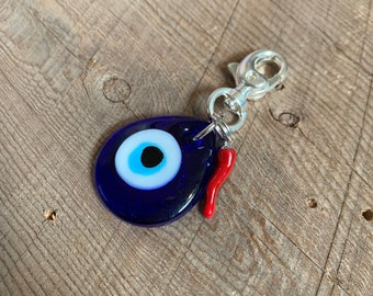 Blue Teardrop Evil Eye with Red Cornicello  Charm Keychain glass pendant keychain New Driver Gift Purse Accessory