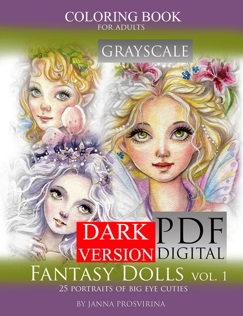 PRINTABLE Instant Download PDF GRAYSCALE Coloring book image 0