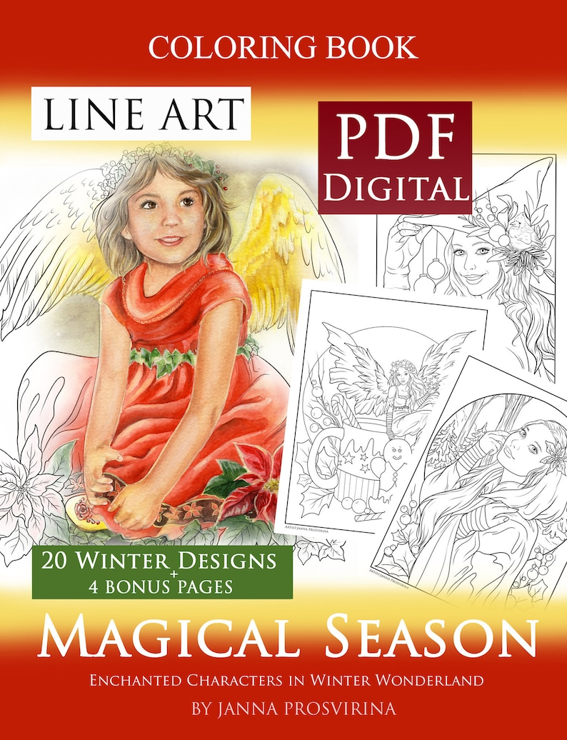PRINTABLE PDF coloring book Christmas Yule Winter Season image 0
