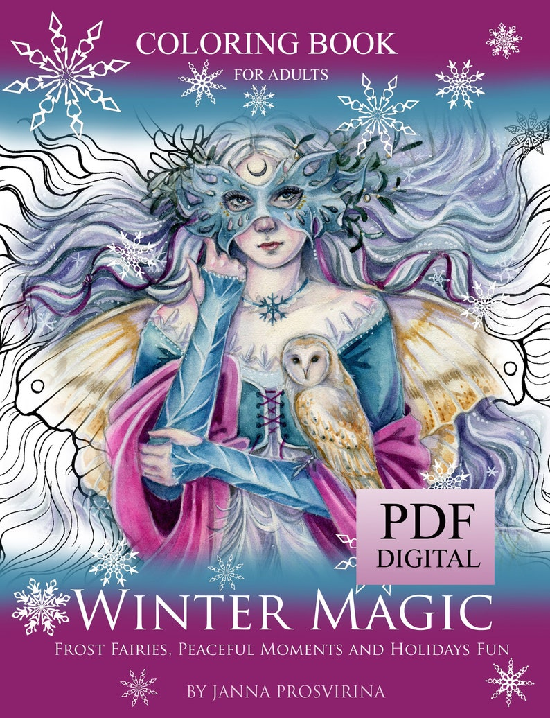 PRINTABLE PDF coloring book Instant download Winter image 0