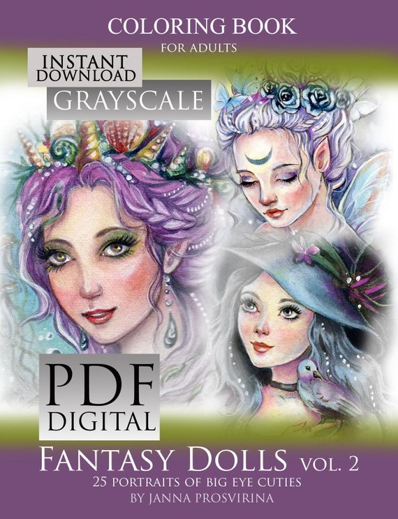 Printable Instant Download Pdf Grayscale Coloring Book Coloring Pages Big Eye Dolls Art Of Janna Prosvirina
