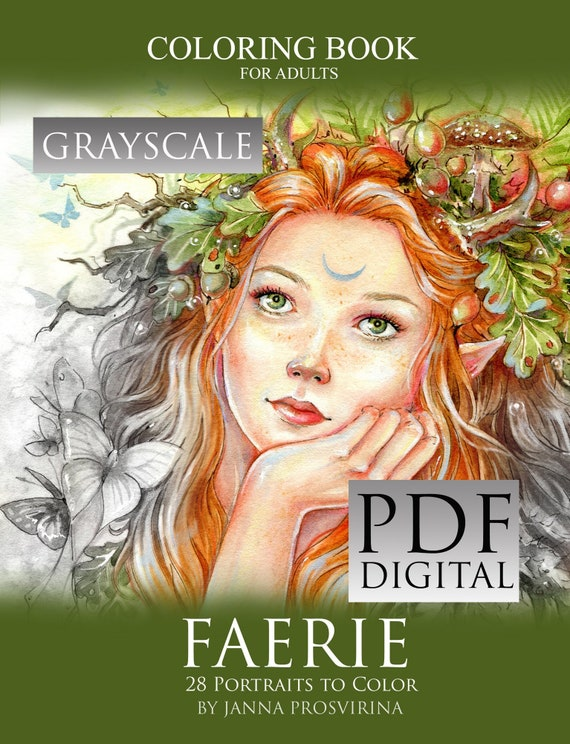 PRINTABLE Instant Download PDF GRAYSCALE Coloring Book Etsy
