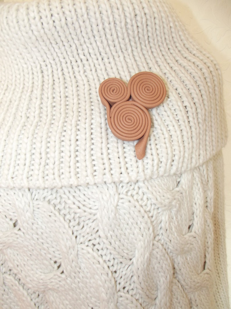 small brooch leather gift swirly leather brooch gift leather embellishment Leather brooch