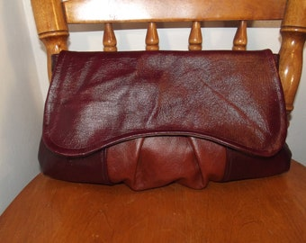 Oversized Leather Clutch Bag, brown,burgundy,autumn colours,gift