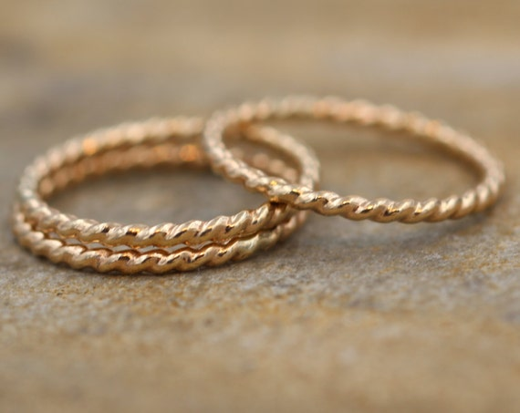 Yellow Gold Rope/Braided Rings - 1.2 mm - Stacking RIngs - Midi Rings - Hand Made in solid 14 kt Yellow Gold