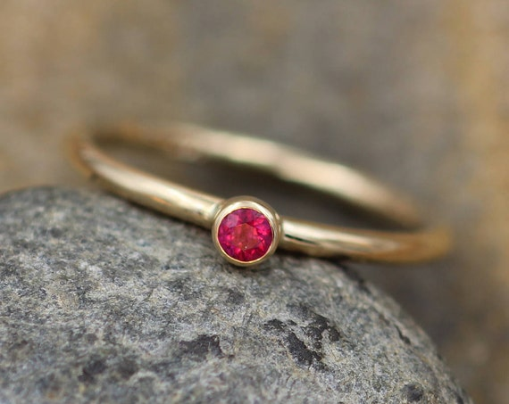 Ruby Small Gold Stacking Ring - Thick Gold Ruby Ring - RubyYellow Gold Ring - 14 kt Ruby - Ruby Round Ring - Gold Ruby Ring - Ruby Stackable