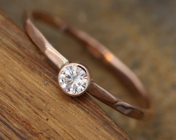 Moissanite 3mm Glossy Bezel Stacking Ring - Rose Gold Moissanite Bezel Ring - Rose Gold Moissanite Stacking Ring - Forever one Stackable