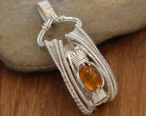 Amber Wire Wrapped Pendant in Argentium - Baltic Sea Amber Pendant - Baltic Amber Necklace - Wire Wrapped Baltic Amber