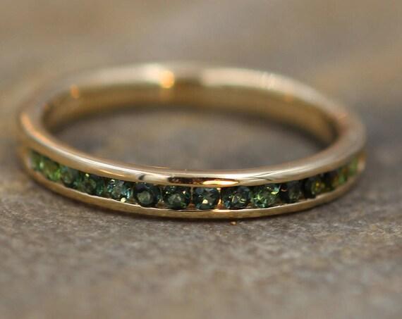 Gold Green Tourmaline Ring Glossy Finish - Green Tourmaline Wedding Band - Green Tourmaline Channel Ring - Half Channel Tourmaline Ring