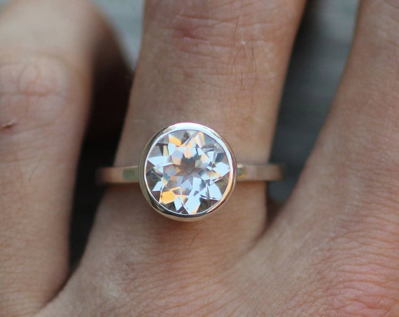 White Topaz Bezel Ring - Stackable Version, 10mm Round - Glossy Topaz Ring - Clear Topaz Silver Ring - Topaz Conflict Free Ring