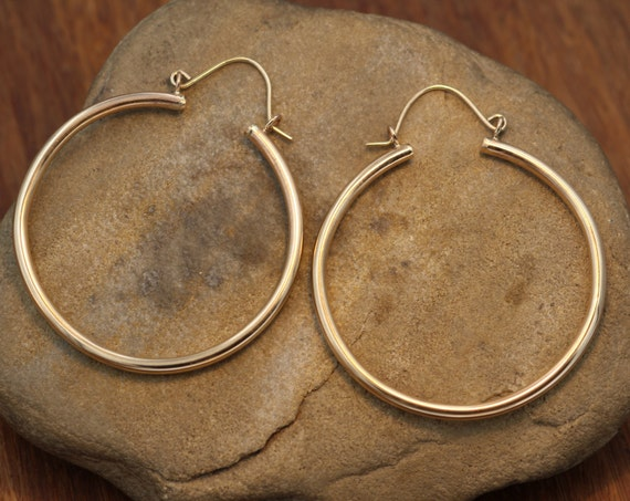 Thick Gold Hoop Earrings - Thick Gold hoops - Clasp Hoops - Gold Tubing Hoops - Large Hoops