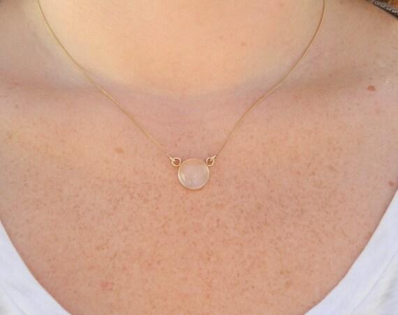 Moonstone Yellow Gold Bezel Necklace - Moonstone Necklace - Gold Moonstone Necklace - Moonstone Bezel - Large Moonstone - Moonstone